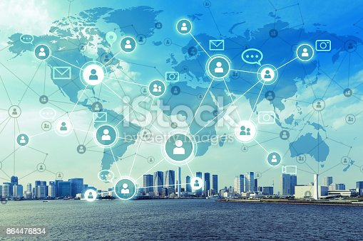istock Social networking service concept. Worldwide connection. Mixed media. 864476834