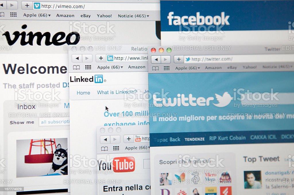 Social Networks Vimeo Facebook Youtube Twitter Linkedin royalty-free stock photo