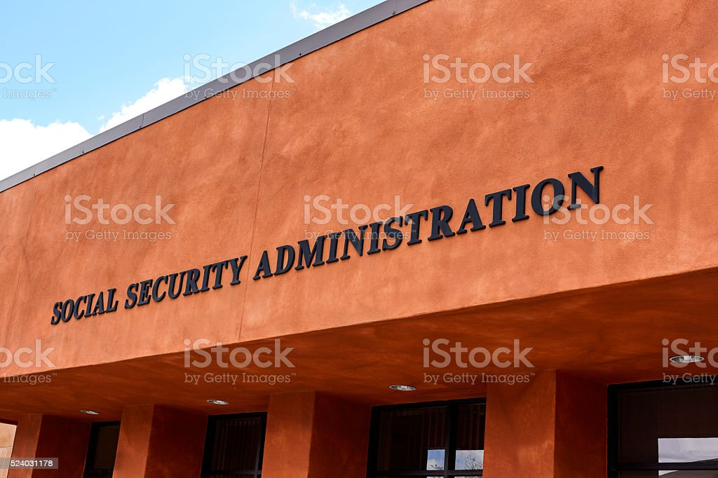 Social Security Administration Sign stock photo