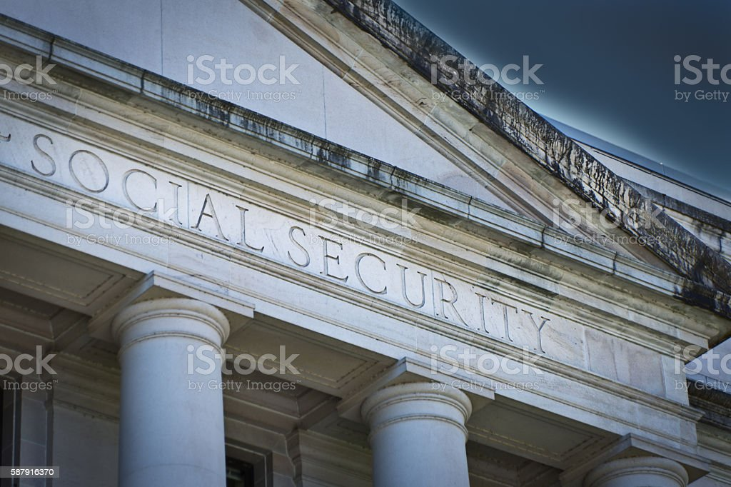 Social Security Agency Government Building Sign stock photo