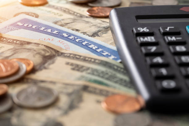 social security and medicare cost - social security check stock photos and pictures