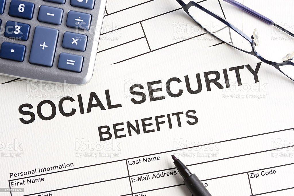 Social security benefits stock photo