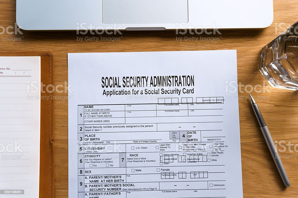 Social Security Card Application Form On Table Stock Photo  More