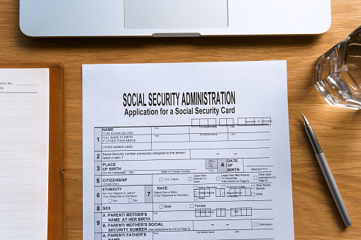 Social Security Card Application Form On Table Stock Photo Download Image Now Istock