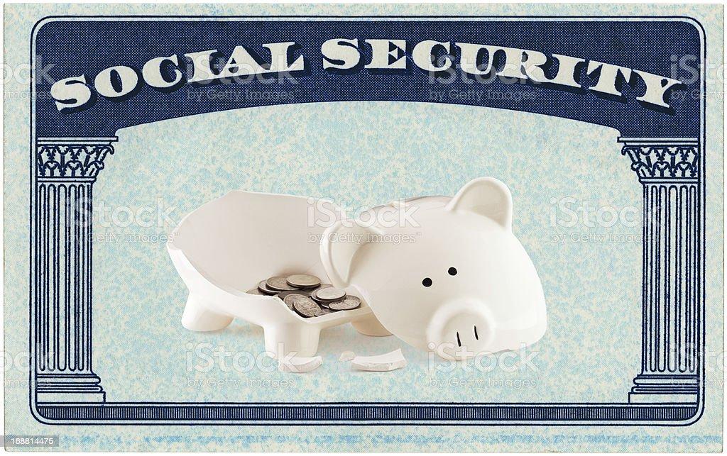 USA Social Security Card Framing A Broken Piggy Bank stock photo