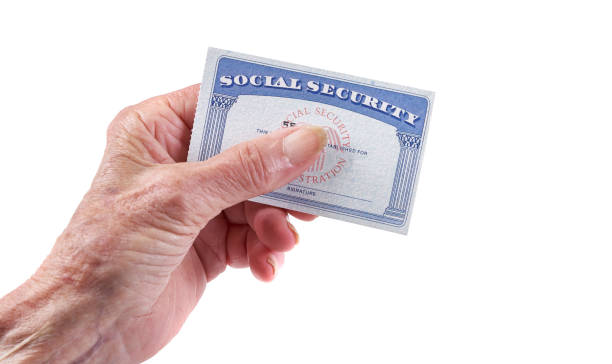 Social Security Card: Senior woman holding card in hand on white background Social Security Card: Senior woman holding card in hand on white background social security stock pictures, royalty-free photos & images