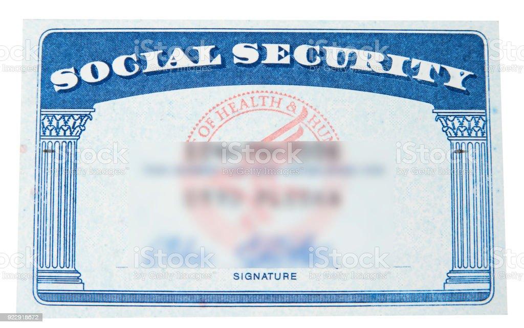 Carte de sécurité sociale avec blury ID sur le blanc - Photo