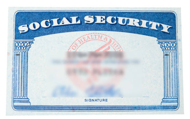 Social security card with blury ID on the white Social security card with blury ID on the white social security stock pictures, royalty-free photos & images