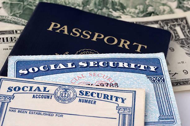 Social Security Cards & Passport stock photo