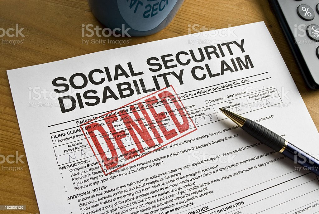 Social Security Claim Denied on a desk stock photo