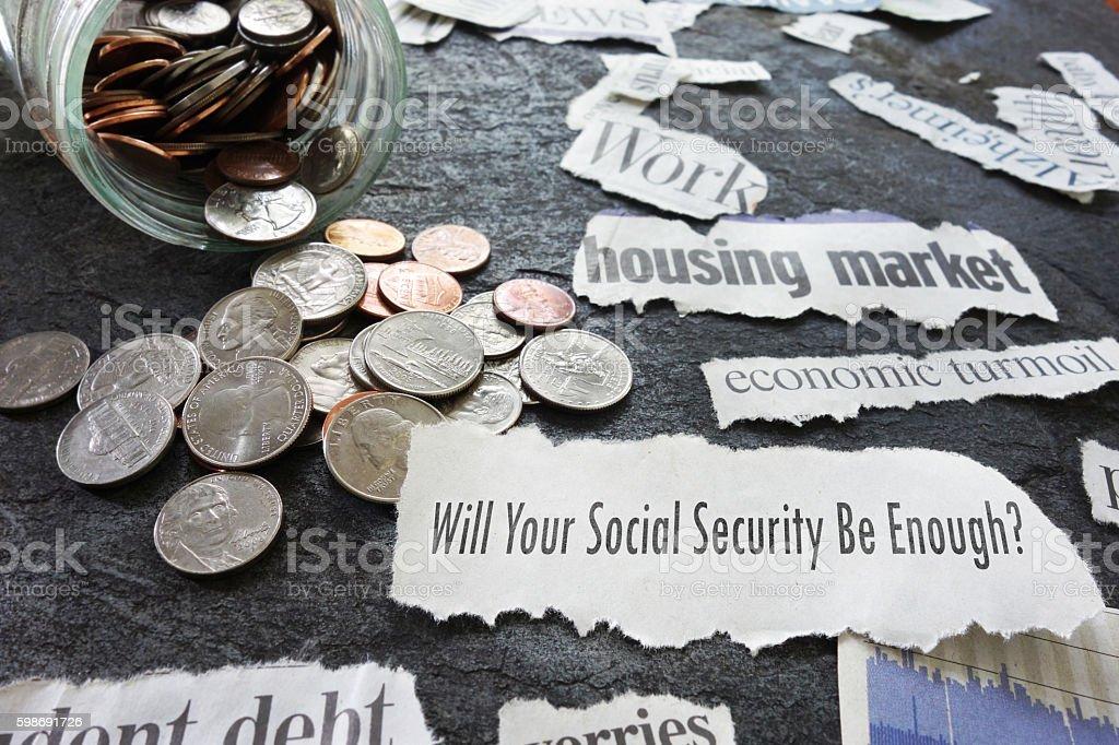 Social Security newspaper headlines stock photo