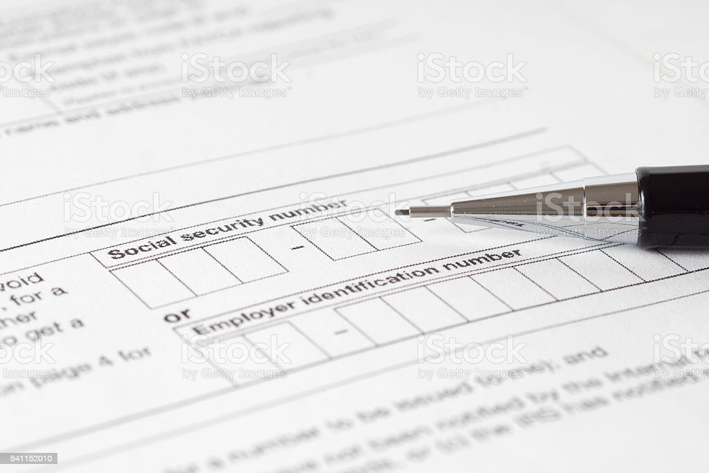 social security number form stock photo