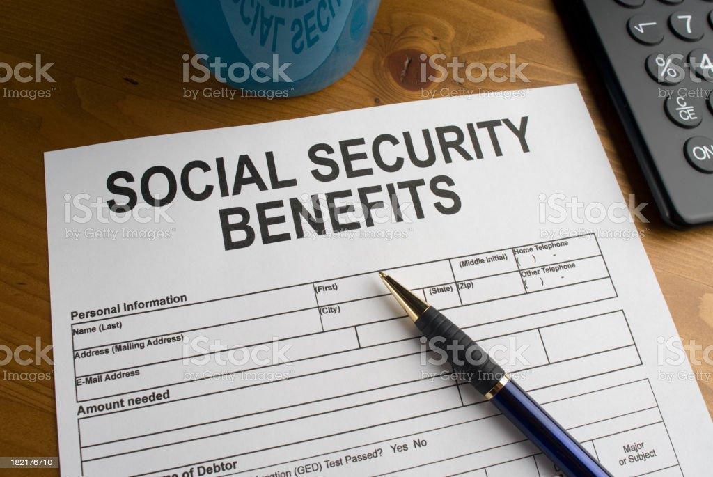 Social Securiy Benefits Form stock photo