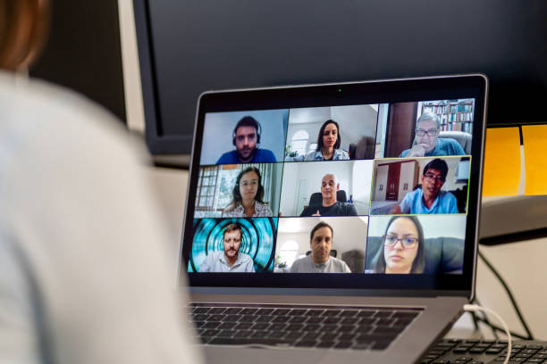 Social Teleconference during COVID-19 stock photo