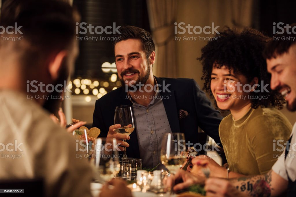 Socialising Over A Meal royalty-free stock photo