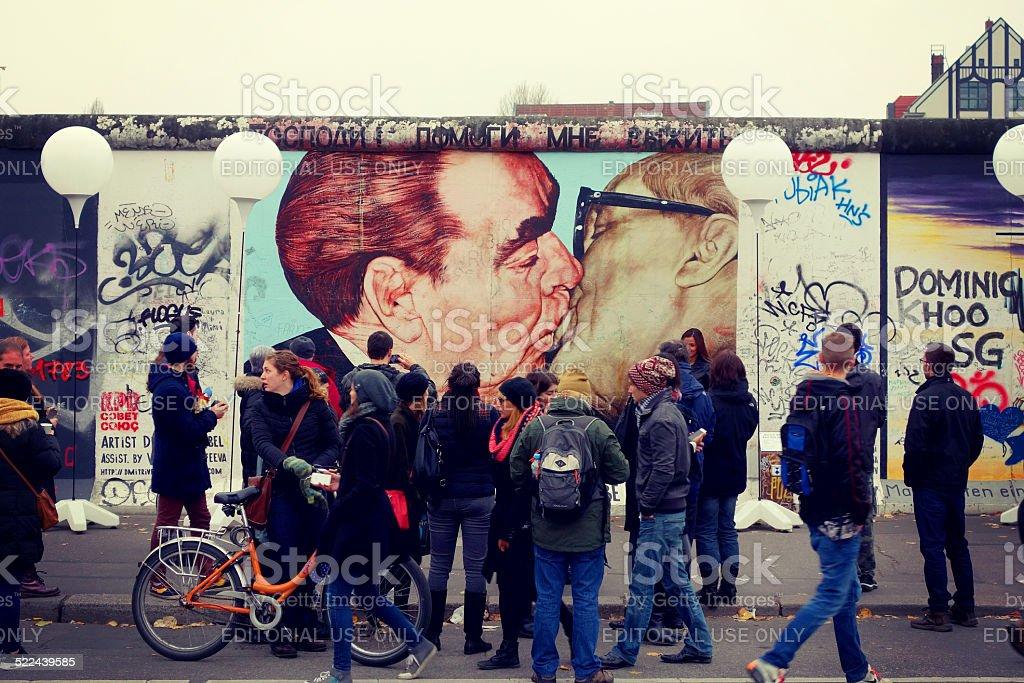 Socialist fraternal kiss stock photo