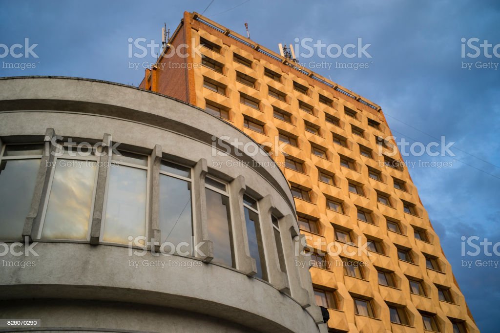 Socialist modernist architecture stock photo