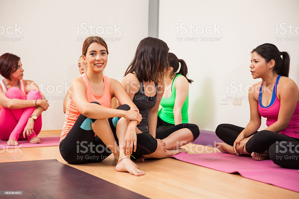Socializing after yoga class stock photo