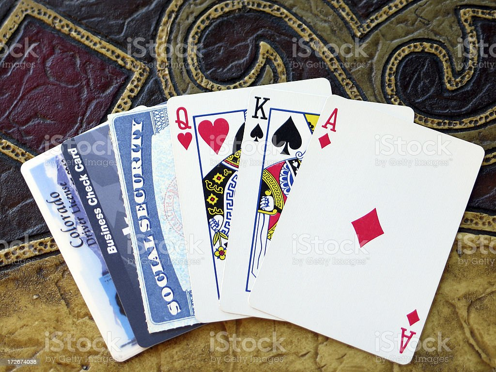 Social-Security Card, Credit Card, License Mixed into Playing Cards royalty-free stock photo