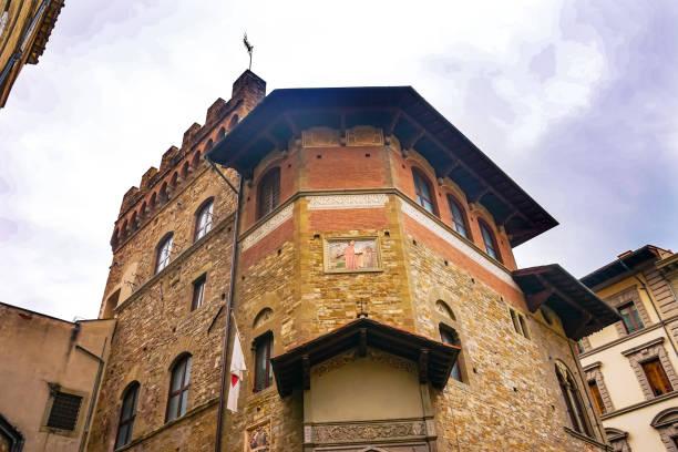 societa dante alighieri gesellschaft kulturgebäude florenz italien - göttliche komödie stock-fotos und bilder