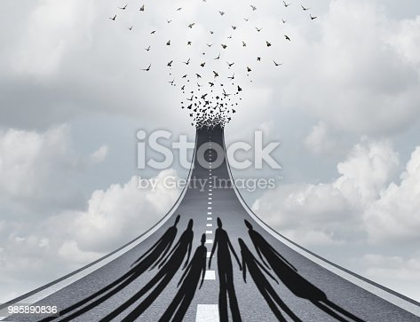 Society journey and social freedom as the shadow of a family or crowd of people on an upward path of liberty with 3D illustration elements as group therapy concept.