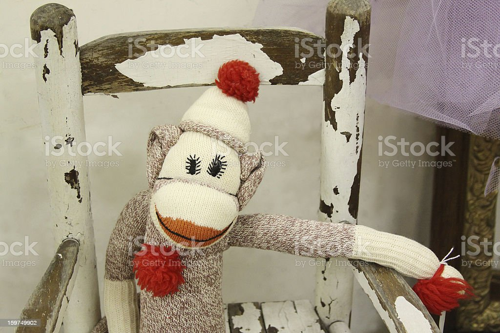 Sock Monkey in the Attic stock photo