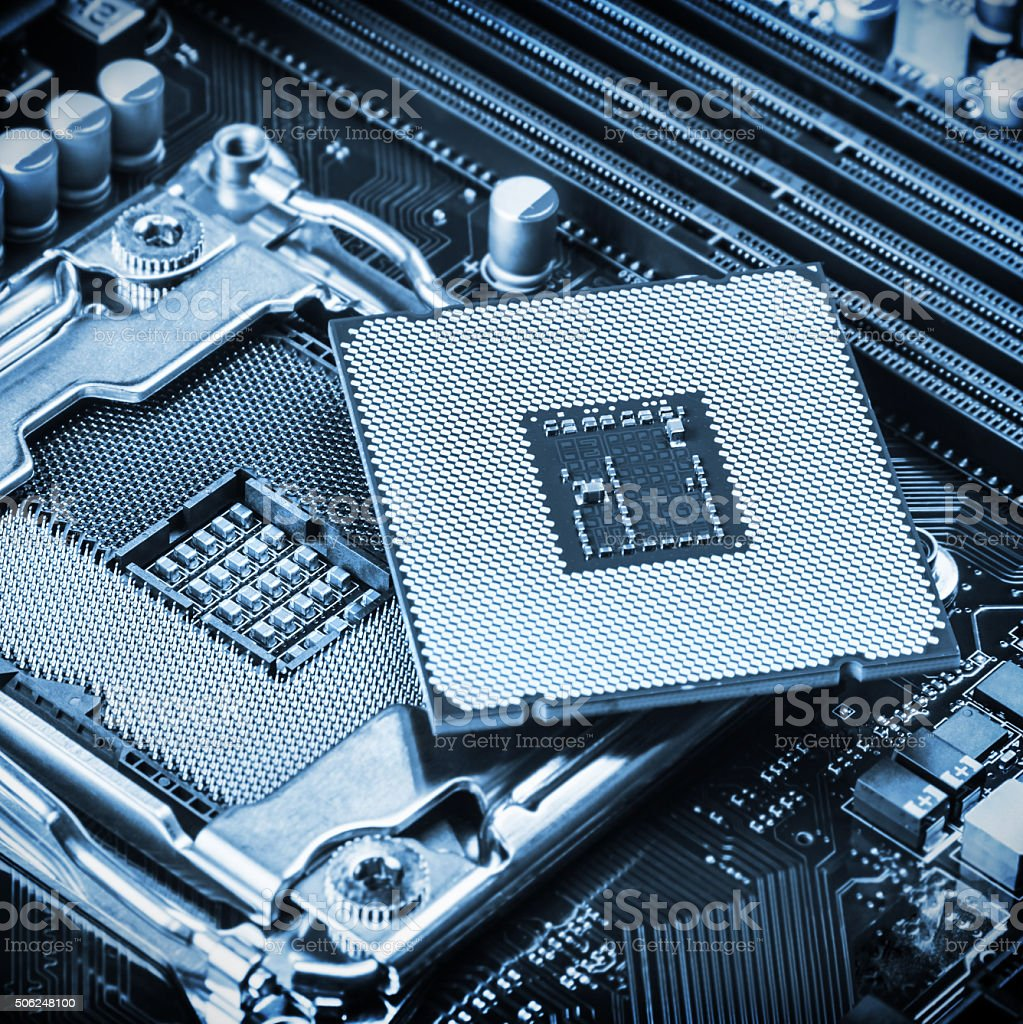 CPU socket and processor stock photo