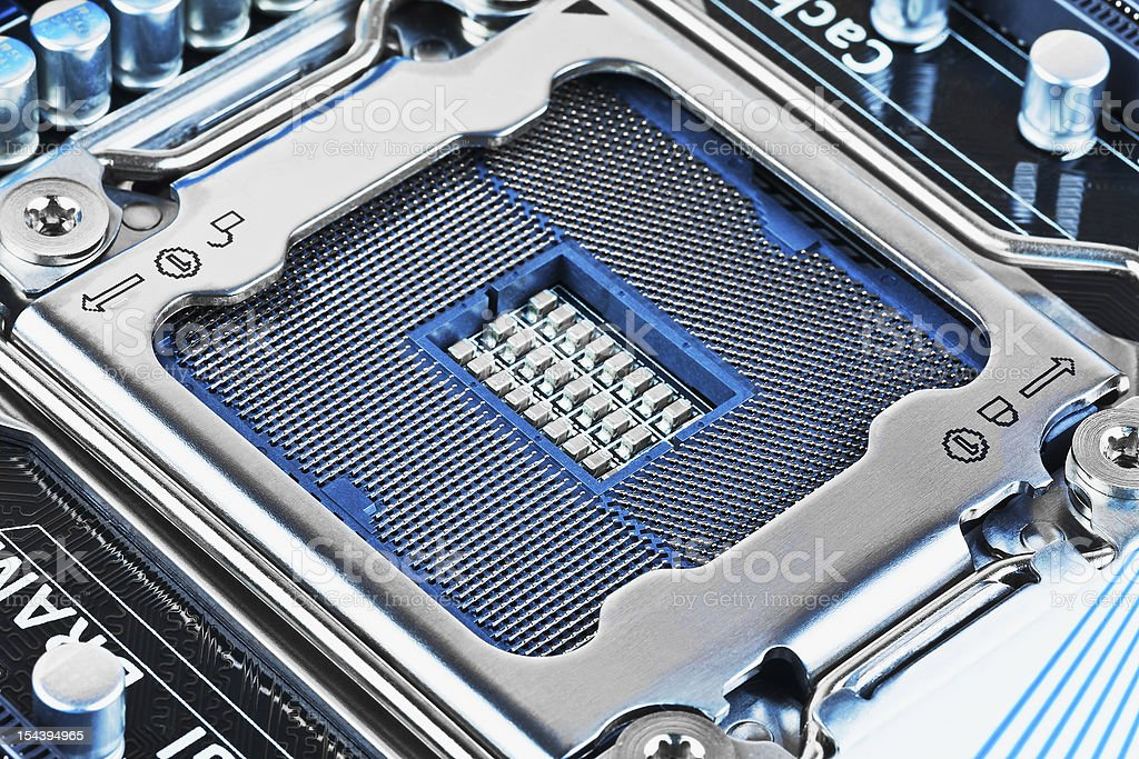 CPU socket on motherboard royalty-free stock photo