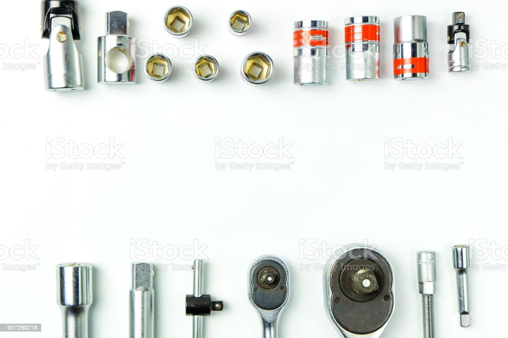 Socket Spanner Wrenches on white Background for mechanical tools concept. stock photo