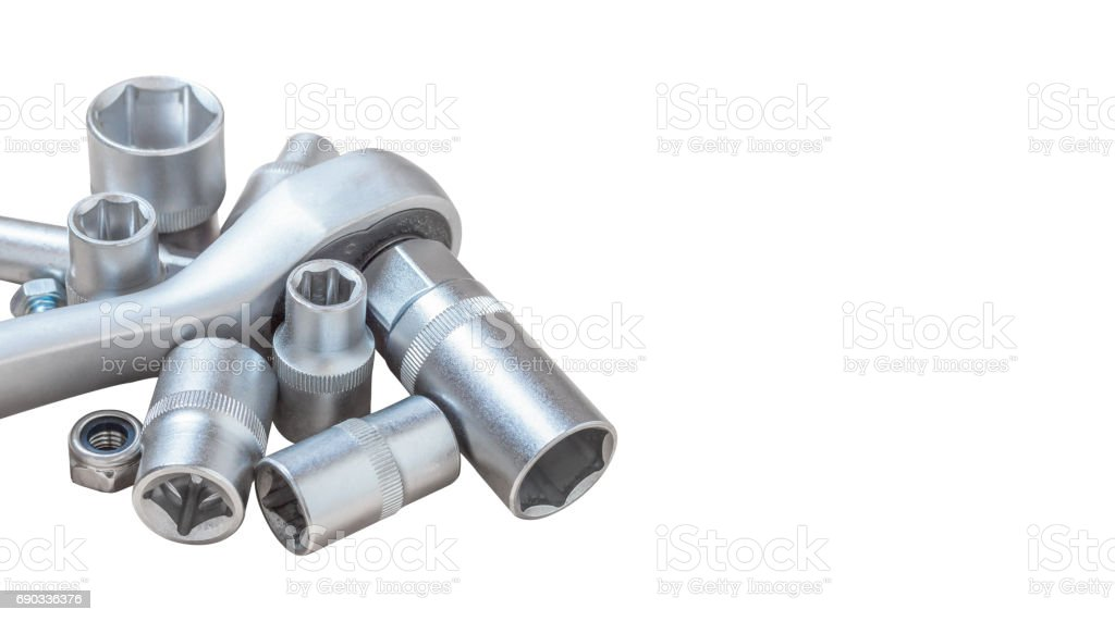 Socket wrenches isolated on white background stock photo