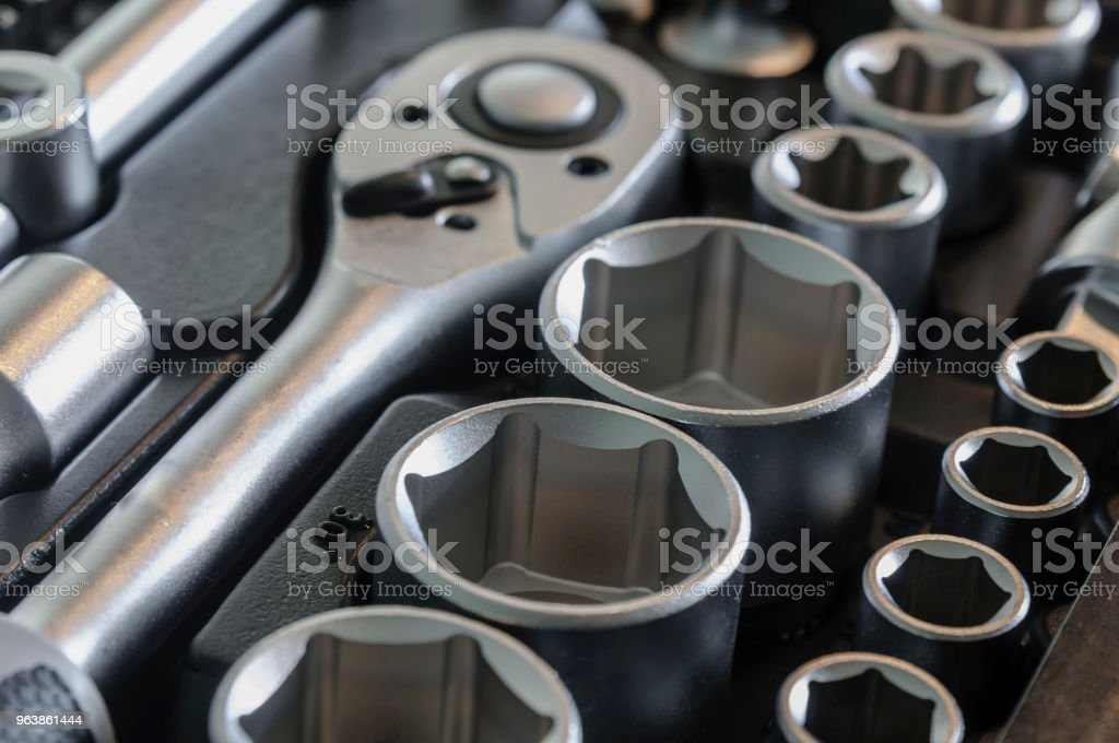Sockets, tools, wrenches, spanners and bits in a chrome vanadium socket set. - Royalty-free Alloy Stock Photo