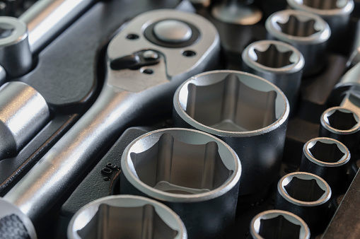 Sockets Tools Wrenches Spanners And Bits In A Chrome Vanadium Socket Set Stock Photo - Download Image Now