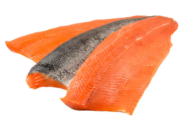 Sockeye Salmon fillet with skin, isolated on white. stock photo