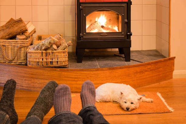 Socks and feet of a couple relaxing by fire with west highland terrier dog stock photo