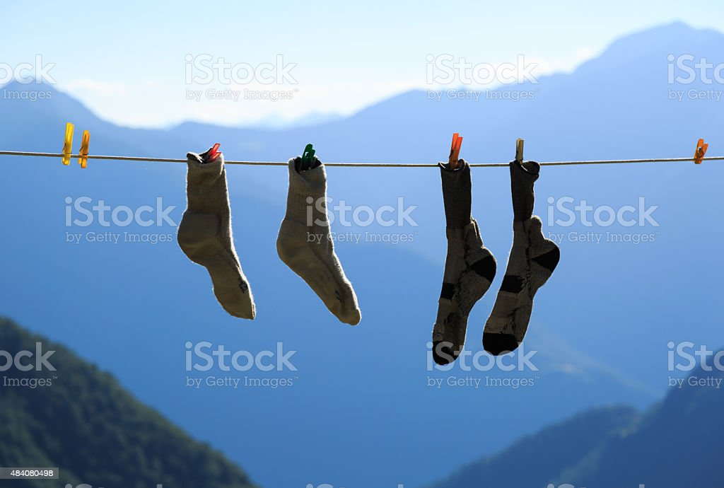 Socks drying stock photo