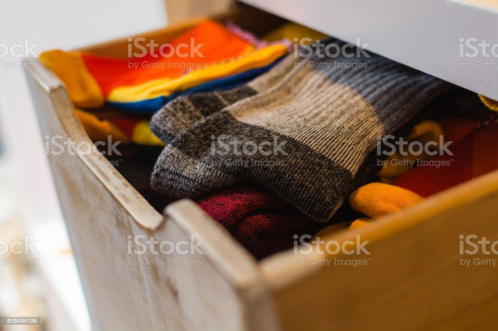 Socks in a drawers stock photo