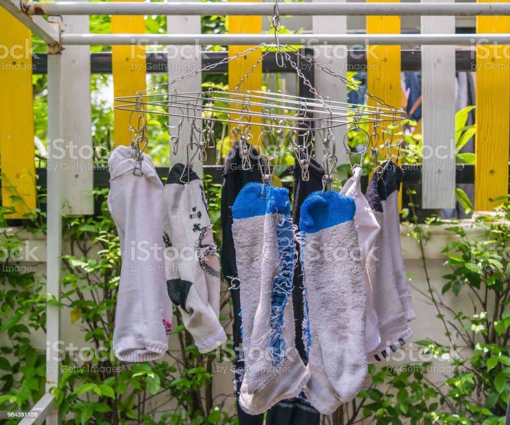 Sokken van opknoping kleren - Royalty-free Activiteit - Bewegen Stockfoto