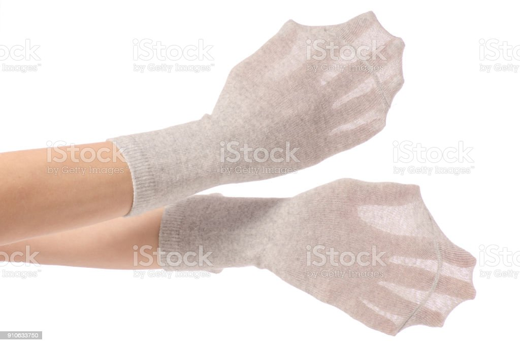 Socks On The Hands Isolated Stock Photo - Download Image Now - iStock