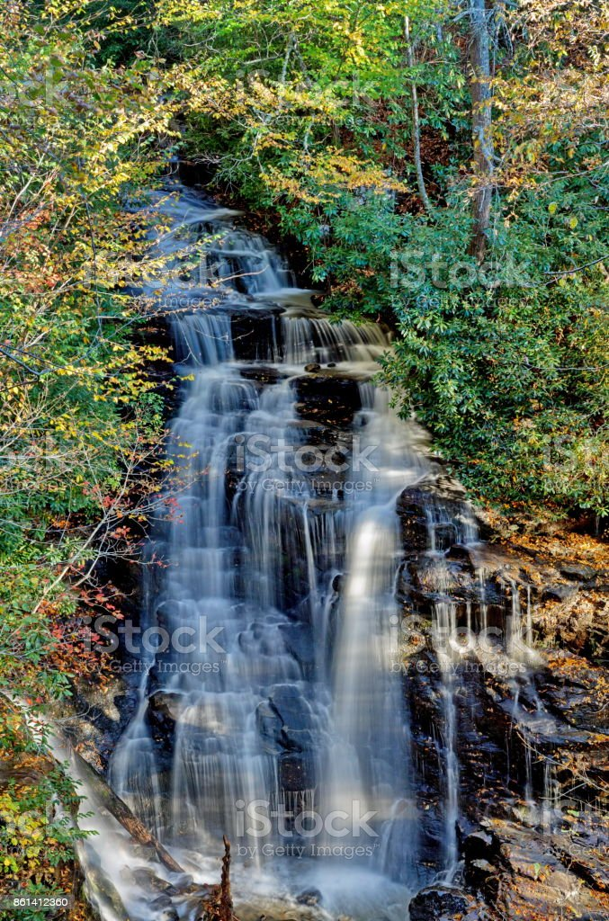 Soco Falls in Fall royalty-free stock photo