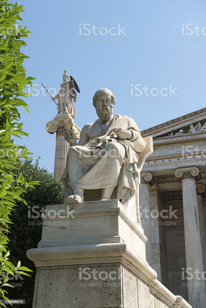 Socrates and Athena in front the Academy of Athens royalty-free stock photo