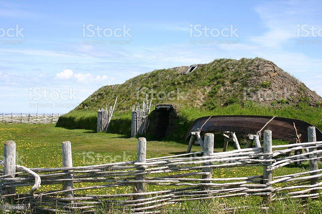 Sod hut at L'Anse aux Meadows, Newfoundland. stock photo