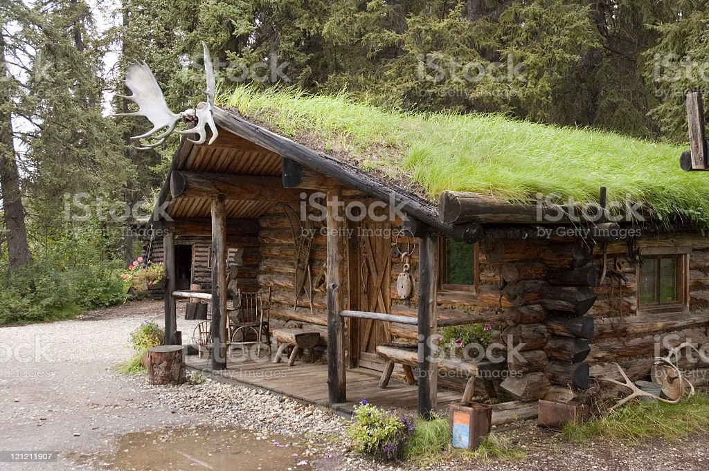 Sod Roof Log Cabin royalty-free stock photo