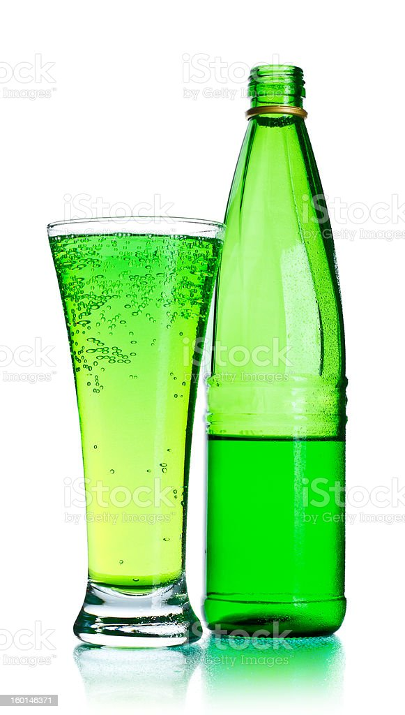 Soda Bottle and Glass royalty-free stock photo