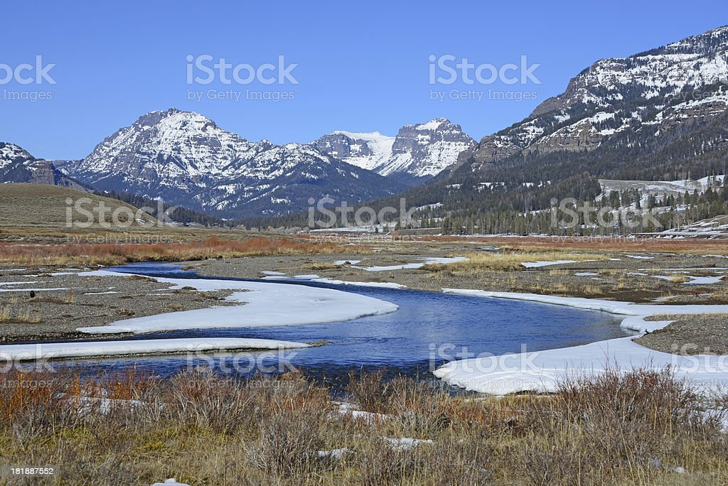 Soda Butte Creek and Absaroka Mountains in Yellowstone National Park. royalty-free stock photo