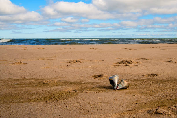 soda can on a beach of the Baltic sea in Poland stock photo