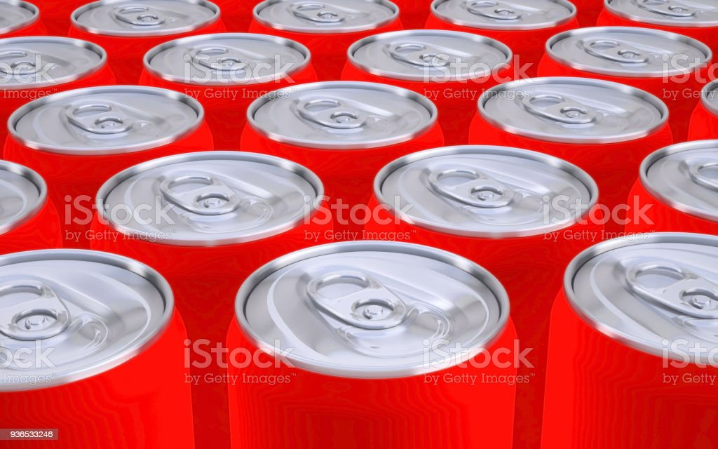 soda cans red 3D illustration stock photo