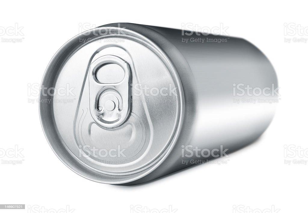 Soda drink can lying stock photo