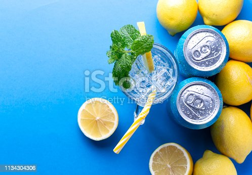 Soda pop can. Refreshing summer drink. Place for text