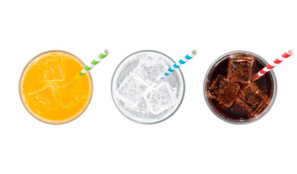 Soda Drinks with straws stock photo