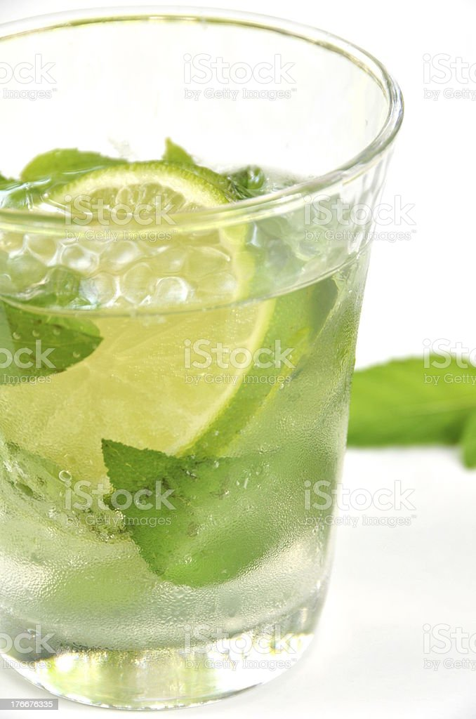 soda with mint leaves and lime royalty-free stock photo